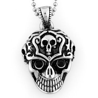 Stainless Steel Black Cubic Zirconia Grinning Skull Necklace