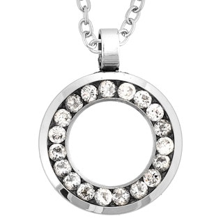 Stainless Steel Cubic Zirconia Hollow Circle Necklace