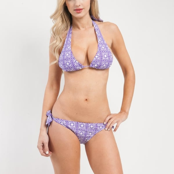 24/7 Frenzy Purple Geometric Printed Halter Bikini Set