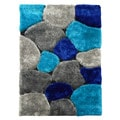 Hand-tufted Flash Shaggy-658 Abstract Color Block Blue Shag Rug (5' x 7')