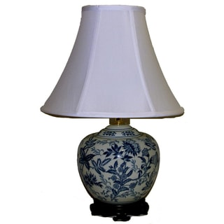 Crown Lighting Blue and White Botanical Melon Jar Table Lamp