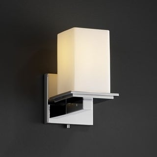 Flat Rim 1-light Polished Chrome Opal Square Glass Wall Sconce