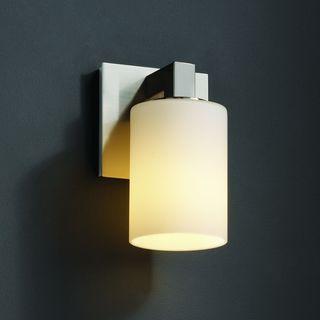 Flat Rim 1-light Brushed Nickel Opal Cylinder Glass Wall Sconce