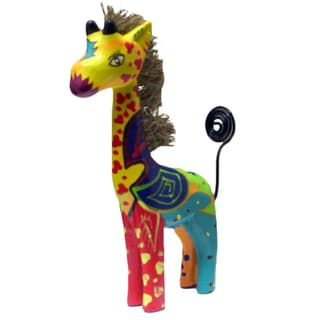 Hand-carved Colorful 4-inch Giraffe Statue (Indonesia)