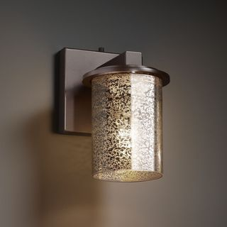 Flat Rim 1-light Dark Bronze Cylinder Mercury Glass Wall Sconce