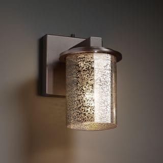 Justice Design Group Flat Rim 1-light Dark Bronze Cylinder Mercury Glass Wall Sconce