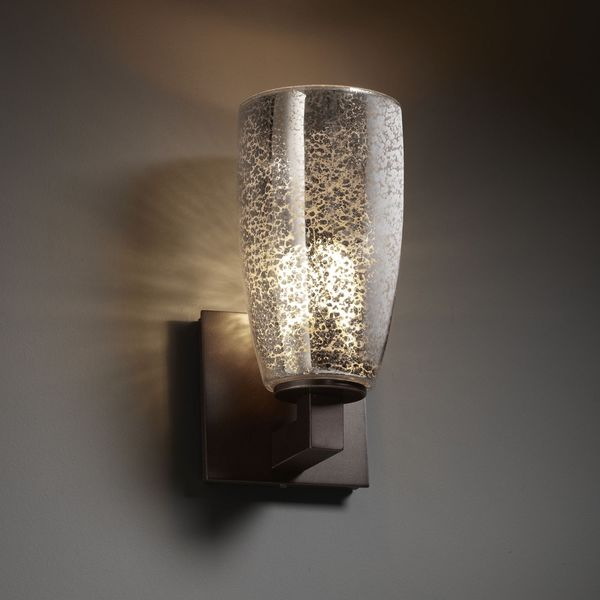 Tall Glass Wall Sconces : Justice Design Group Tall Tapered 1-light Dark Bronze Cylinder Mercury Glass Wall Sconce ...