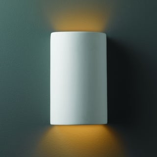 Small Cylinder Ceramic Bisque 1-light Wall Sconce