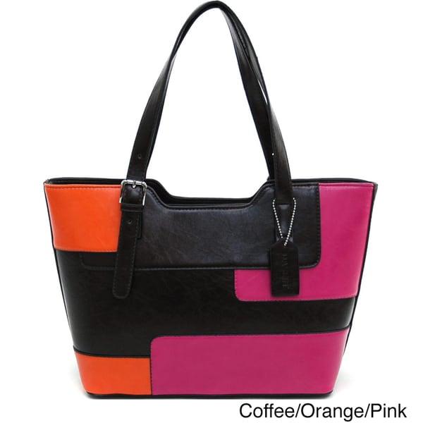 Dasein Women's Retro Color-block Tote Bag