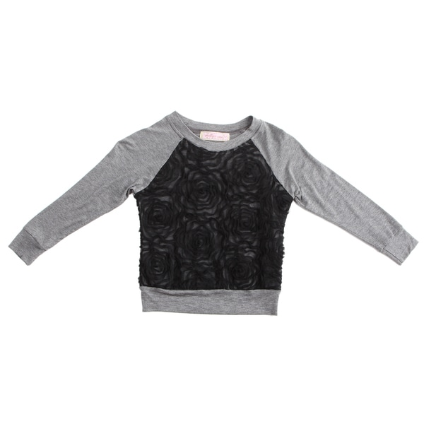 Paulinie Collection Girls' Long Sleeve Embelished Mesh Top