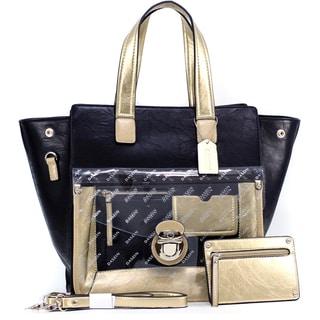 Dasein Metallic Contrast Expandable Tote Bag