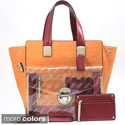 Dasein Metallic Contrast Expandable Tote Bag