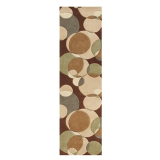 Alliyah Handmade Brown New Zealand Blend Wool Rug (2' x 8')