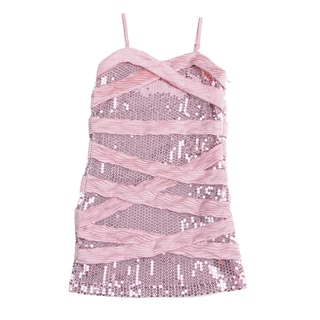 Paulinie Girls Dusty Rose Sequin Striped Dress