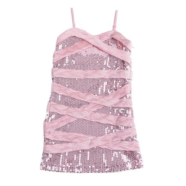 Paulinie Girls Dusty Rose Sequin Striped Dress