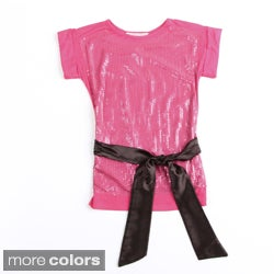 Paulinie Collection Sequins with Satin Bow Short Sleeve Top