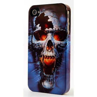 Cracked Blue Fanged Skull Dimensional Plastic iPhone Case
