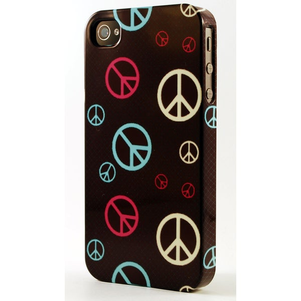 Colorful Peace Signs On Black Background Dimensional Plastic iPhone Case