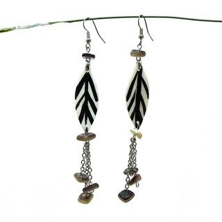 Lustrous Leaves Hand Painted Natural Shell Earrings (Philippines)