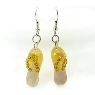 Island Summer Fun Mother of Pearl Flip Flop Earrings (Philippines)