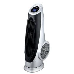 Ovente Silver Cool Breeze Tower Fan with Remote Control and LCD Panel
