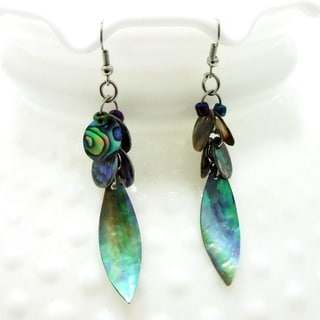 Peacock Leaf Natural Abalone Shell Dangle Earrings (Philippines)