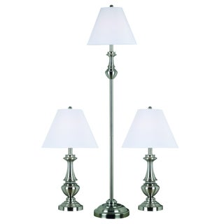 Cardinal Brushed Steel 3-piece Lamp Set