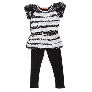 Funkyberry Girls' Short Sleeve Polka Dot Top with Leggings