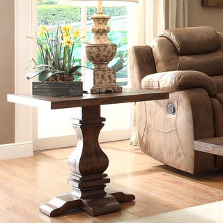 TRIBECCA HOME Atelier Traditional French Burnished Brown Pedestal End Table