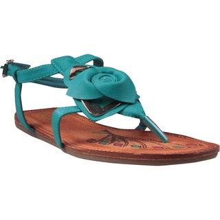 Refresh by Beston Women's 'Abina-02' Teal Rose Vamp Sandals