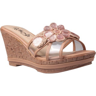 Refresh by Beston Women's 'Belle-01' Beige Beaded Floral Wedge Sandals