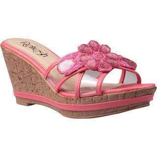 Refresh by Beston Women's 'Belle-01' Coral Floral Applique Wedge Sandals