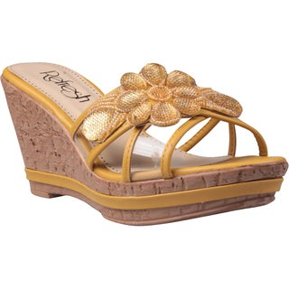 Refresh by Beston Women's 'Belle-01' Mustard Floral Applique Wedge Sandals