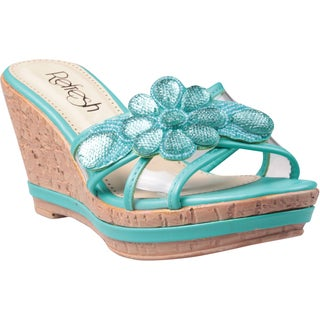 Refresh by Beston Women's 'Belle-01' Teal Floral Applique Wedge Sandals