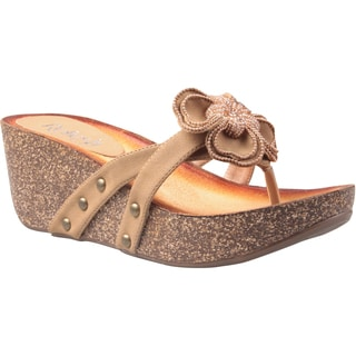 Refresh by Beston Women's 'Danica-01' Camel Floral Vamp Low Wedge Sandals