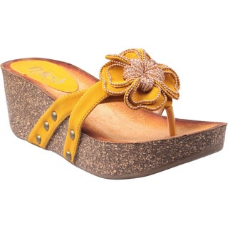 Refresh by Beston Women's 'Danica-01' Mustard Floral Vamp Low Wedge Sandals