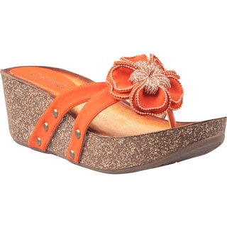 Refresh by Beston Women's 'Danica-01' Orange Floral Vamp Low Wedge Sandals