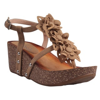Refresh by Beston Women's 'Danica-05' Camel Floral T-strap Wedge Sandals