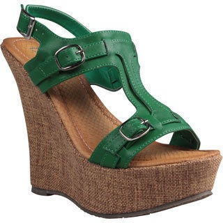 Refresh by Beston Women's 'Fontini-6' Green Cut-out Vamp Wedge Sandals