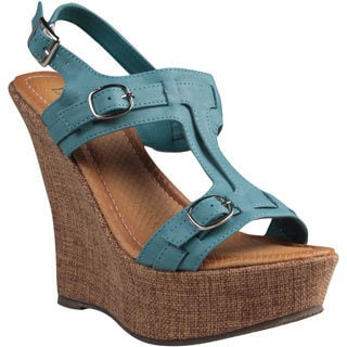 Refresh by Beston Women's 'Fontini-6' Teal Cut-out Vamp Wedge Sandals