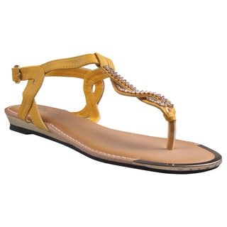 Refresh by Beston Women's 'Jetta-06' Mustard Jeweled T-strap Gladiator Sandals