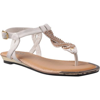 Refresh by Beston Women's 'Jetta-06' White Jeweled T-strap Gladiator Sandals