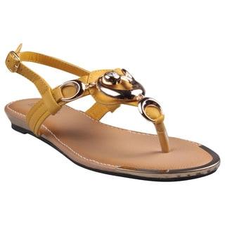 Refresh by Beston Women's 'Jetta-09' Mustard Hardware Detailed Gladiator Sandals