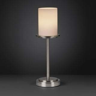 Flat Rim Opal Cylinder Brushed Nickel 1-light Table Lamp