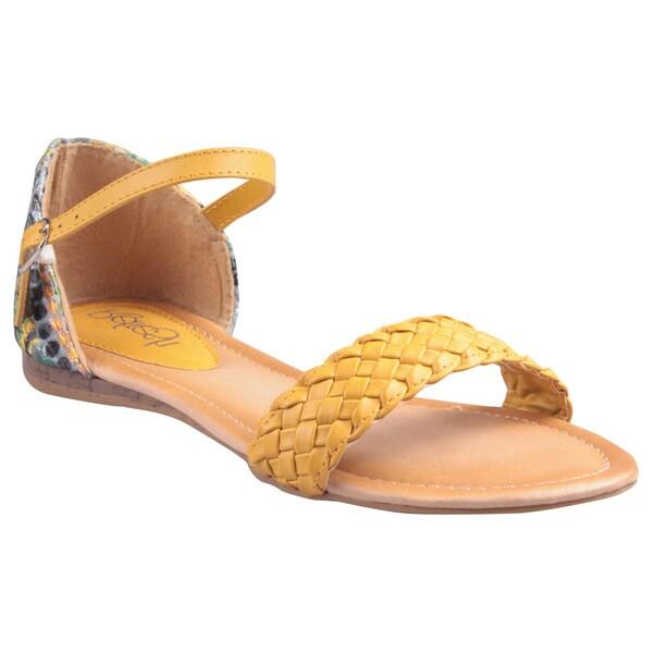 Refresh by Beston Women's 'Kiki-01' Mustard Printed Heel Sandals