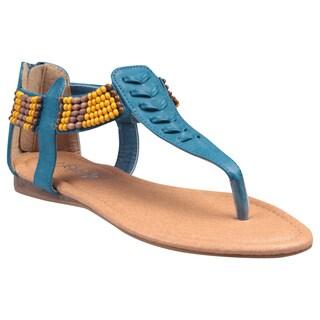 Refresh by Beston Women's 'Kiki-06' Blue Beaded Cuff T-strap Sandals
