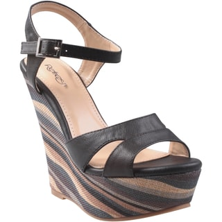 Refresh by Beston Women's 'Olen' Ankle Strap Wedge Sandals