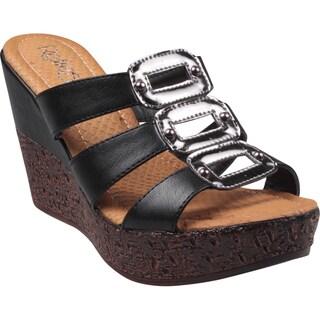 Refresh by Beston Women's 'Randy' Black Open-Toe Slide Wedge Sandals