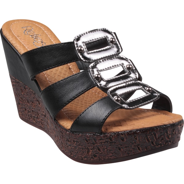 Refresh by Beston Women's 'Randy' Black Open-Toe Slide Wedge Sandals