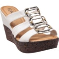 Refresh by Beston Women's 'Randy' White Open-Toe Slide Wedge Sandals